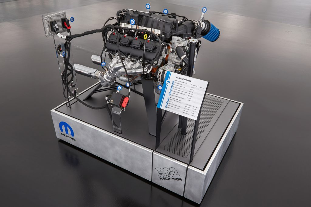 """This """"exploded"""" view of a 6.4-liter HEMI® engine highlights the components of the new Mopar 392 Crate HEMI® Engine Kit, which allows owners to drop a modern HEMI® engine into model year 1975 or earlier vehicles."""