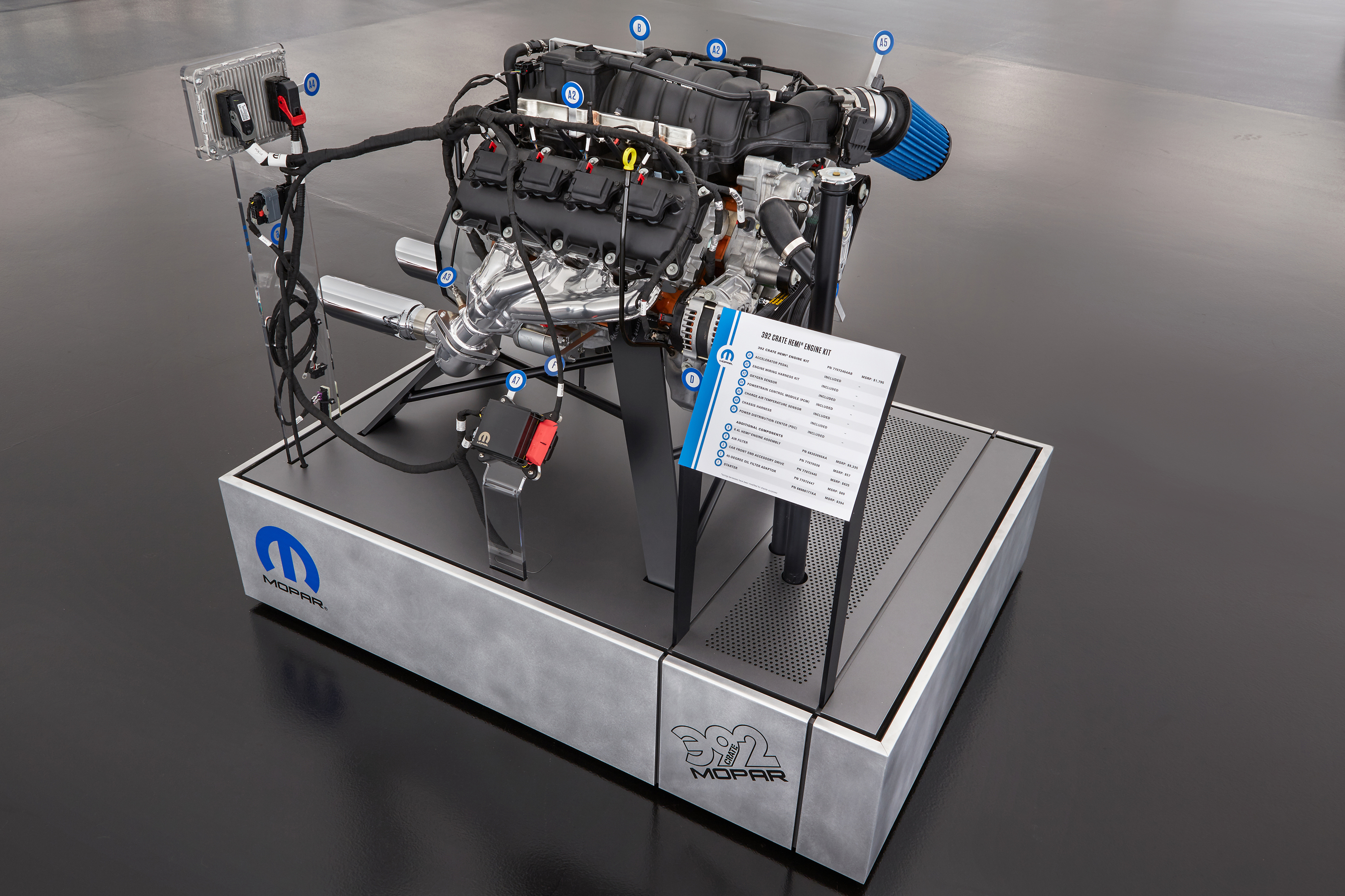 Video Mopar Announces New Crate Hemi Engine Kits At Sema Press Wiring Harness Module What Do You Need For Your This Exploded View Of A 64 Liter Highlights The Components