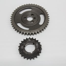 This is a cam and crank gear layout just to put all this gear talk into perspective. The cam gear (top) will always have twice as many teeth as the crank gear (bottom) so that the cam spins at half engine speed.