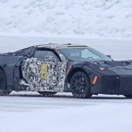 This is believed to be the first good look at a fully redesigned midengine Chevy Corvette getting a run-through at a GM winter-testing facility. The car will reportedly be sold in 2019. (Image/KGP Photography)