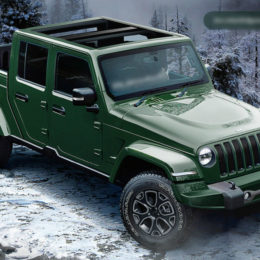 A photo composite of a 2020 Jeep Wrangler pickup truck concept. (Image/releasedatesautos.com)