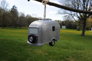 silver camper bird house