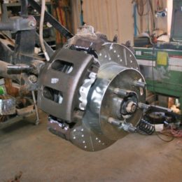 Front rotor, pad, and caliper in place.