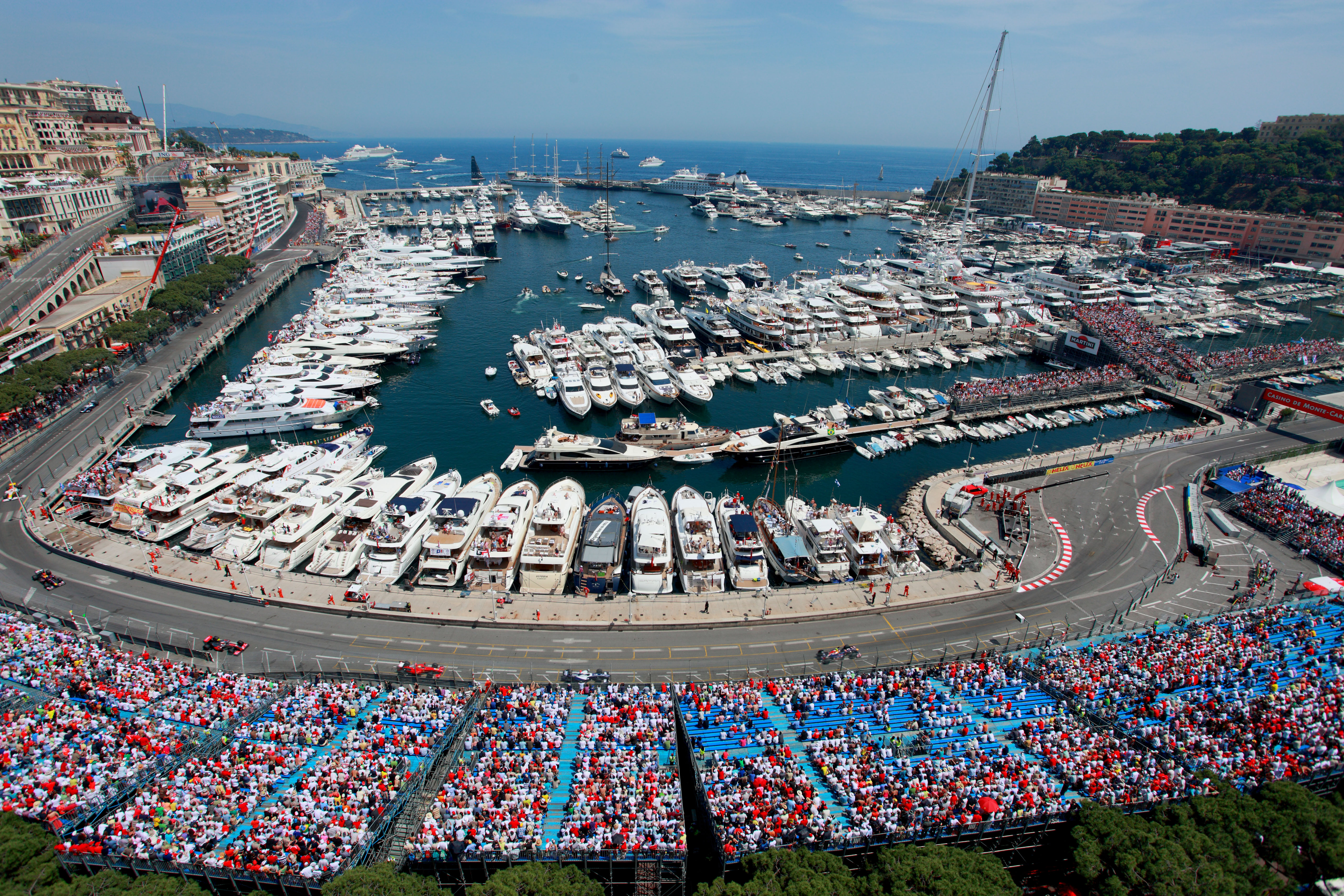 Monaco Grand Prix grandstand and harbor