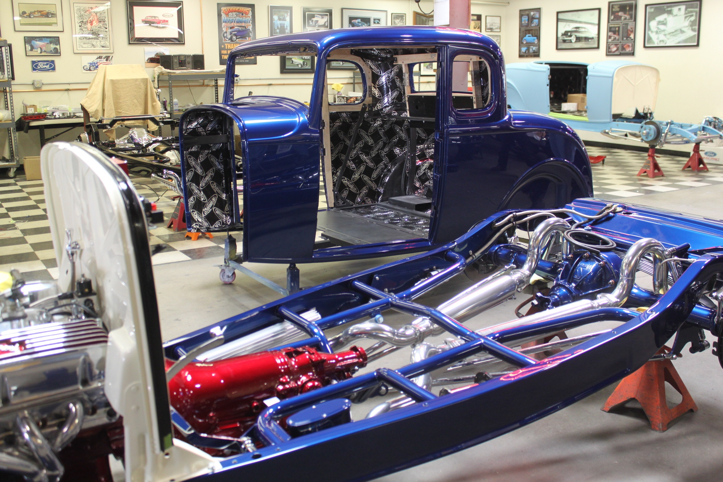 painted body and frame of 32 ford build