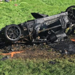 The charred remains of the Rimac electric supercar in volved in Richard Hammond's wreck over the weekend.  (Image/insideevs.com)