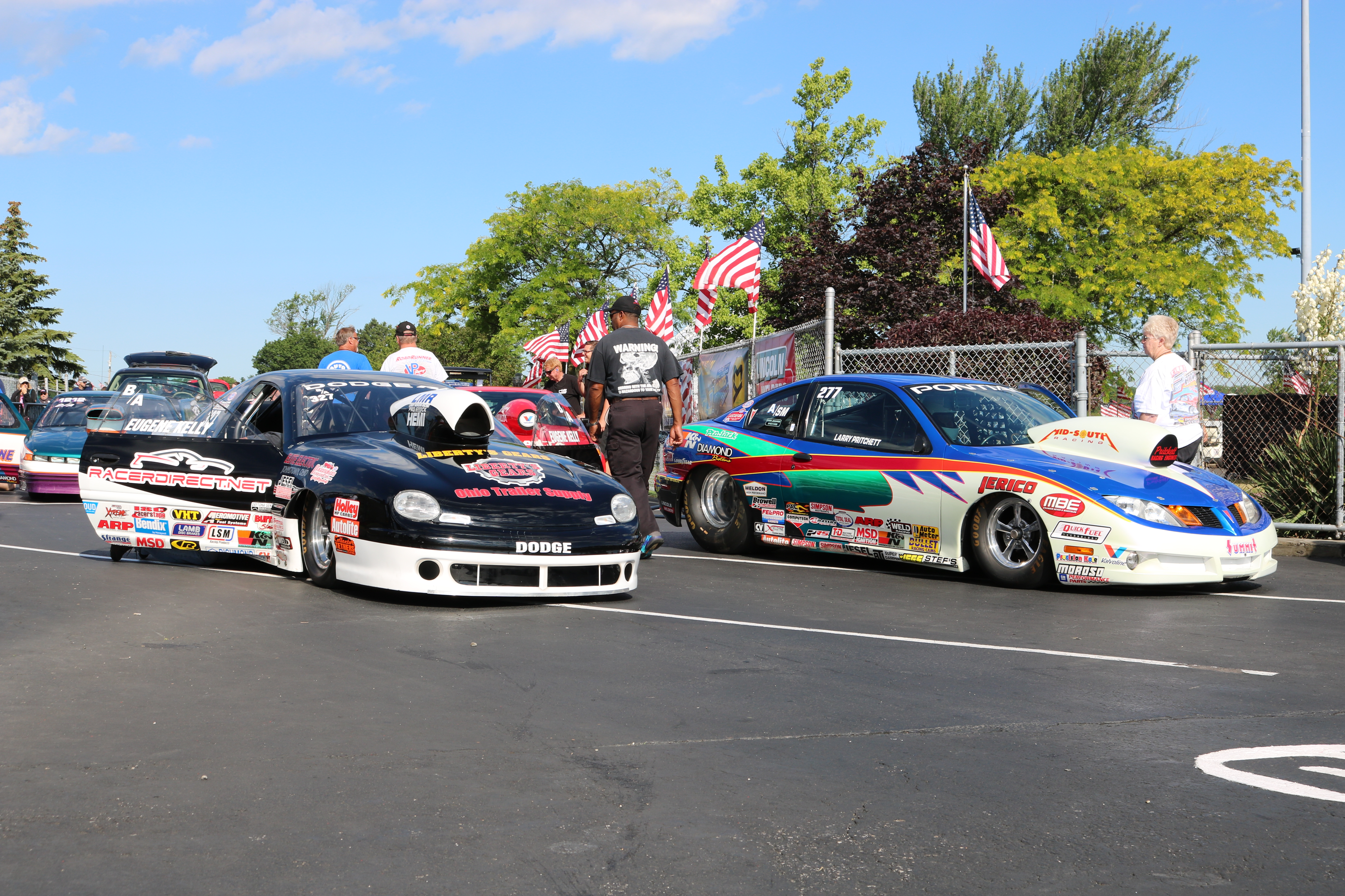 Longtime Pro Stock Driver Larry Morgan Near Lane Driving Eugene Kelly S B A Dodge Neon And Pritchett In His Sm Pontiac Sunfire Were Among The