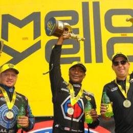 Robert Hight (Funny Car),  Antron Brown (Top Fuel),  and Drew Skillman (Pro Stock) won Sunday in Seattle. (Image/NHRA)