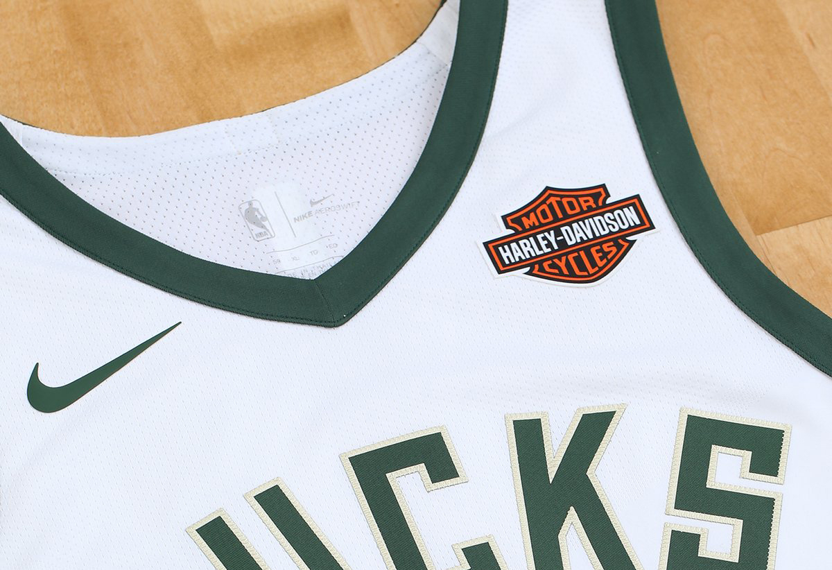 Milwaukee Bucks Jersey with Harley-Davidson Logo
