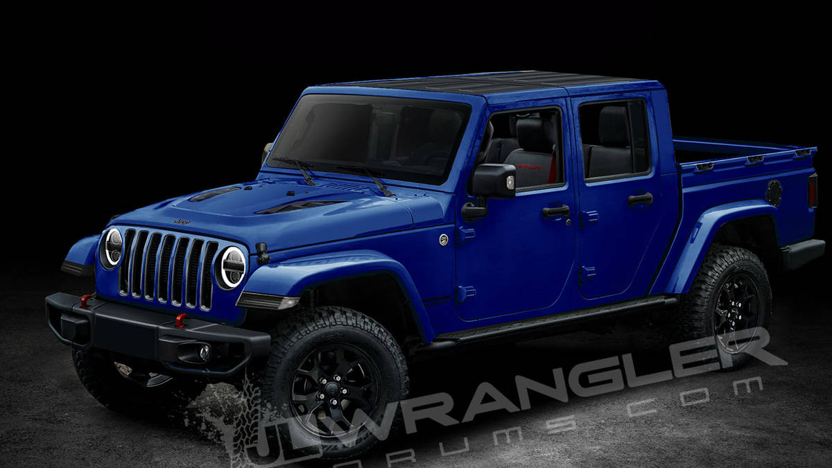 Rendering of 2019 Jeep Scrambler (Wrangler pickup) by JLWranglerforums