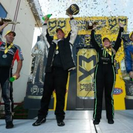 (Left to right) Eddie Krawiec, Bo Butner, Brittany Force, and Ron Capps celebrate wins Sunday at Maple Grove Raceway for the Dodge NHRA Nationals. There are now just four races left for the season in the NHRA Mello Yello Drag Racing Series.  (Image/NHRA)