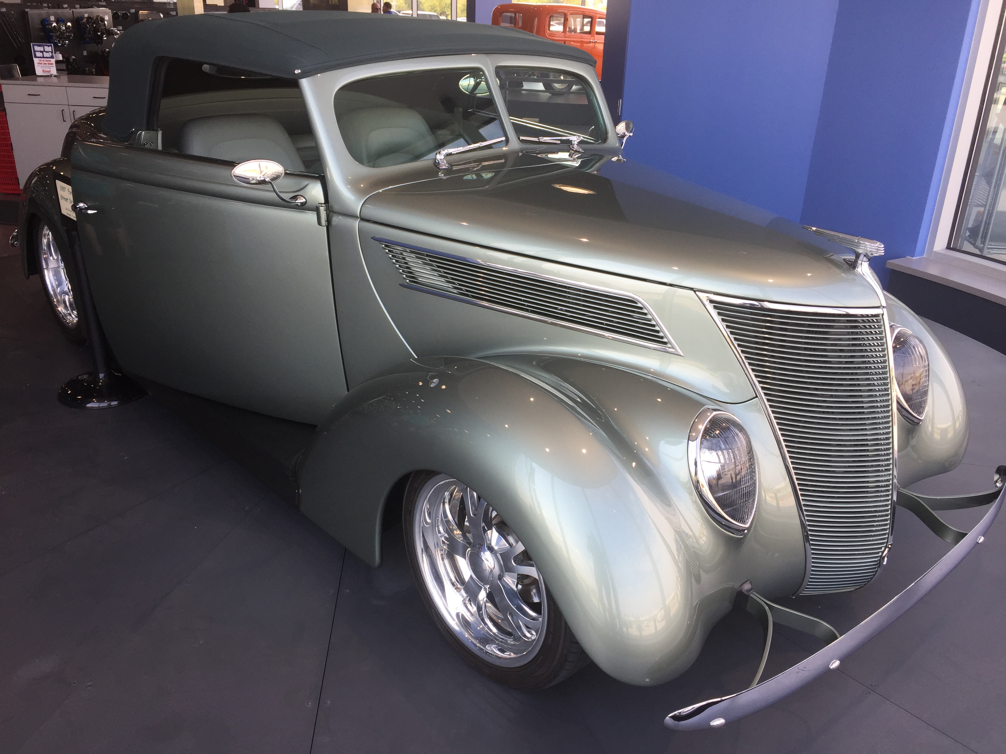 Don Silaff S 1937 Ford Convertible Takes Turntable Spot At Summit Racing Grand Opening Onallcylinders