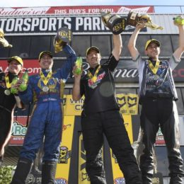 Steve Torrence (Top Fuel), Ron Capps (Funny Car), Greg Anderson (Pro Stock), and LE Tonglet (Pro Stock Motorcycle) claimed victory Sunday. All four NHRA racers are positioned to fight for the championship in their respective categories with just three races to go in the NHRA Countdown to the Championship. (Image/NHRA)