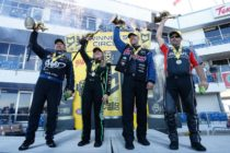 (Left to Right) Robert Hight, Brittany Force, Jason Line, and Eddie Krawiec celebrate wins Sunday in Texas. (Image/NHRA)