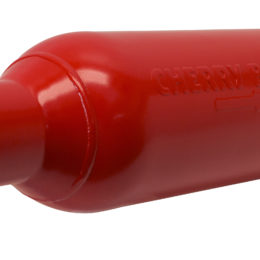 Cherry Bomb's M-80 muffler features a straight-through design and signature red powdercoat finish. (Image/Cherry Bomb)