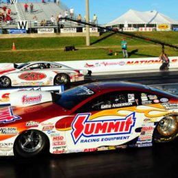 NHRA Pro Stock racer Greg Anderson launches during 2009's Virginia Nationals at Virginia Motorsports Park. (Image/Competition Plus)