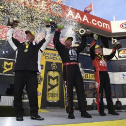 NHRA's Bo Butner (Pro Stock), Matt Hagan (Funny Car), and Doug Kalitta (Top Fuel) celebrate season-opening wins Sunday at the NHRA Winternationals in Pomona, CA. (Image/NHRA)