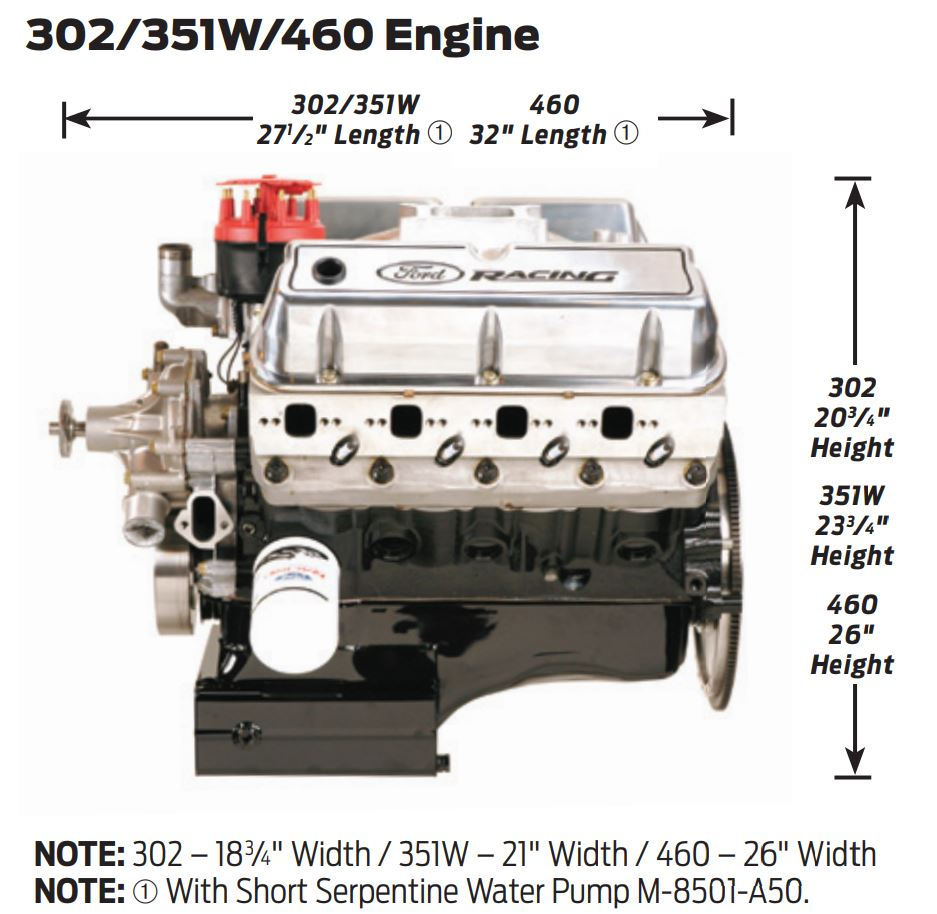 Ford Windsor and Modular Engine External Dimensions - OnAllCylinders