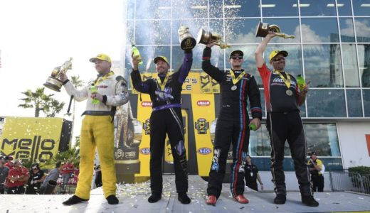 (From left to right) Richie Crampton in Top Fuel, Jack Beckman in Funny Car, Tanner Gray in Pro Stock, and Eddie Krawiec in Pro Stock Motorcycle took home Wallys for winning the NHRA Gatornationals in Gainesville, FL. (Image/NHRA)