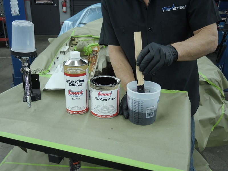 mixing paint with proper mix ratios