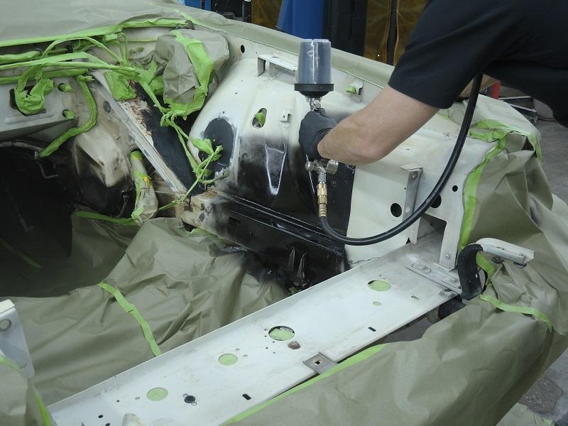 spray painting engine bay