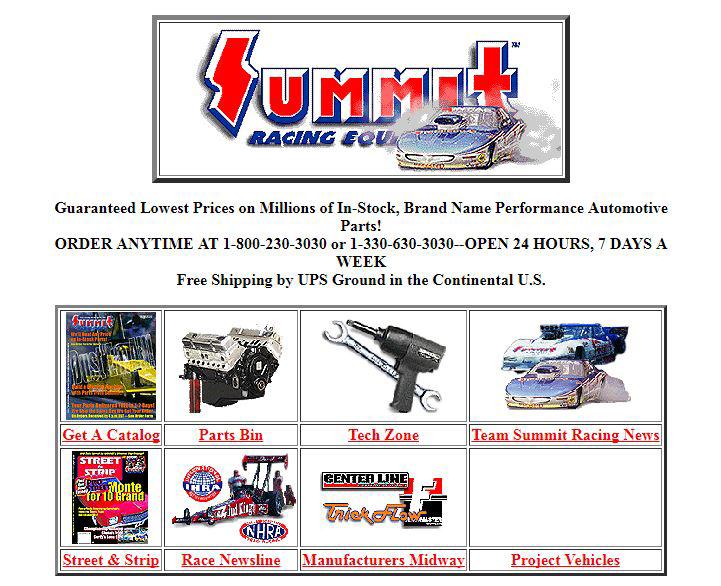 Summit Racing website 1997