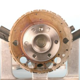 This photo shows the reluctor wheel installed onto the crank, with the installer tool removed. (Image/Mike Mavrigian)