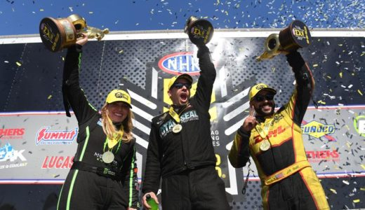 Brittany Force (Top Fuel), Matt Hartford (Pro Stock), and J.R. Todd (Funny Car) celebrate winning their respective categories at the NHRA SpringNationals at Royal Purple Raceway in Baytown, TX. (Image/NHRA)