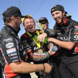 Clay Millican celebrates his second straight Top Fuel win Sunday at the NHRA Route 66 Nationals in Joliet, IL.