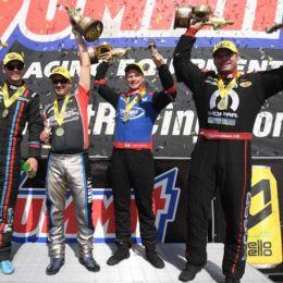 Tanner Gray (Pro Stock), Eddie Krawiec (Pro Stock Motorcycle), Blake Alexander (Top Fuel), and Matt Hagan (Funny Car) celebrate winning the Summit Racing Equipment NHRA Nationals at Summit Motorsports Park in Norwalk, OH. (Image/NHRA)