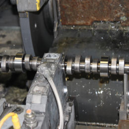 A diamond grinding wheel gives each journal a precision surface. (Image/Summit Racing - Brian Nutter)