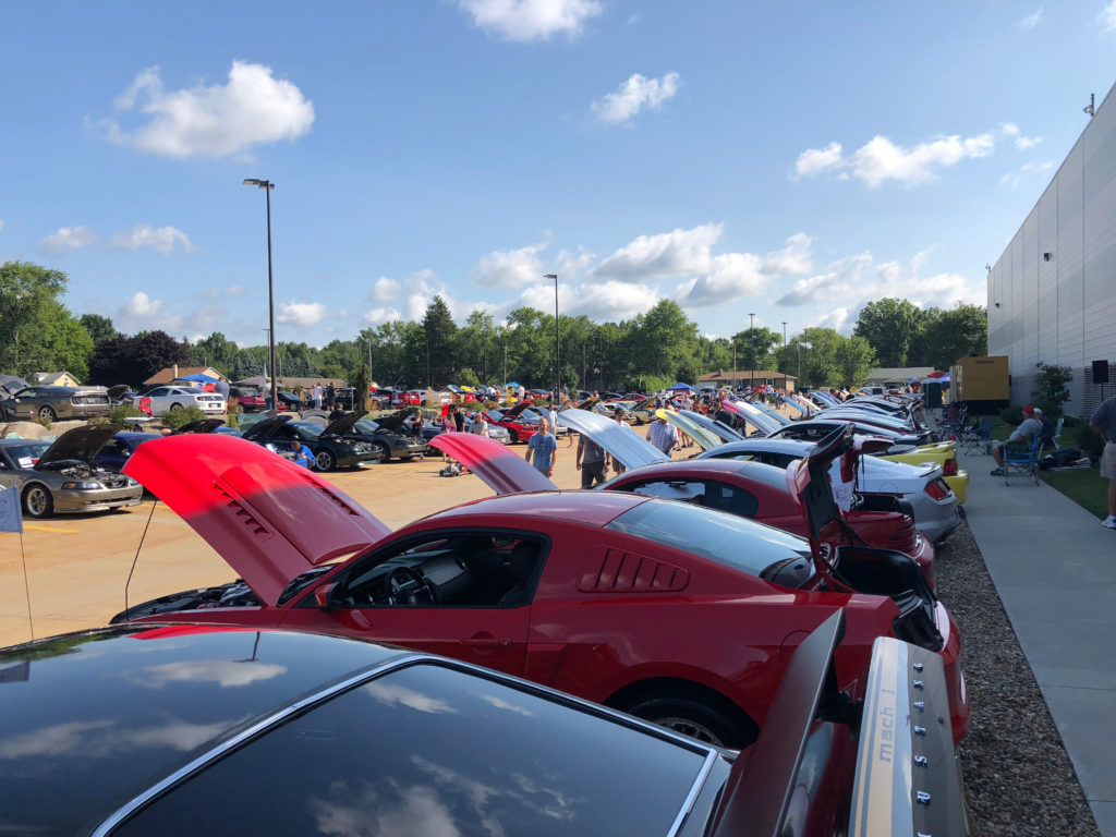 Long-Row-of-Ford-Mustangs-at-a-Car-Show