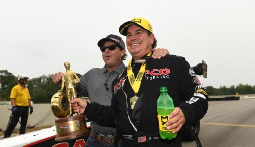 Billy Torrence (right) celebrates his first Top Fuel victory with his son, Steve Torrence. (Image/NHRA)