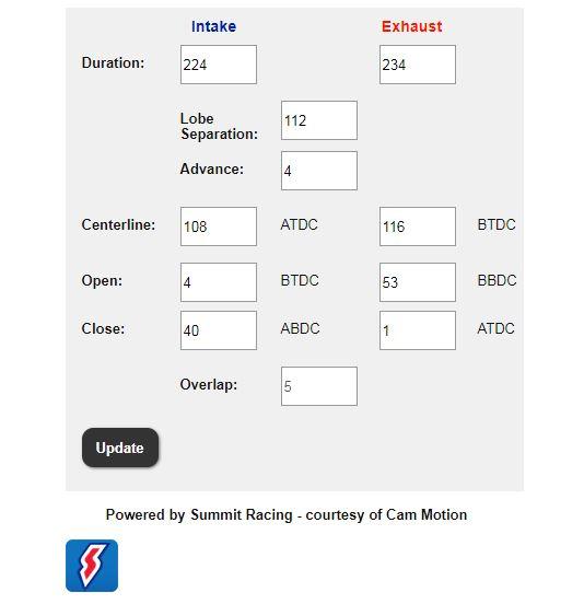screenshot - cam timing calculator