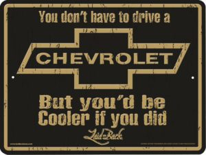 Laid-Back Cooler Chevrolet Aluminum Sign