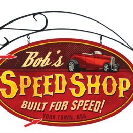 Doubled-Sided Personalized Speed Shop Sign