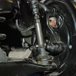 We're not peeling out the ball joints just yet in this car and as a result, we haven't removed the cotter keys and castle nuts, but this photo will give you an idea on how the tool works. (Image/Wayne Scraba)
