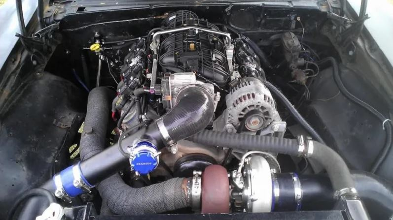 turbocharged iron block LS truck engine