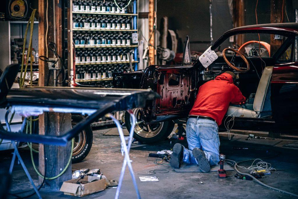 Man Working on Car